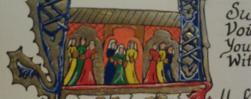 illumination showing people in a castle